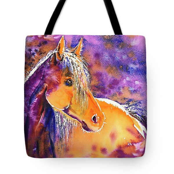 Tote Bag featuring the painting Sunny Mare by Zaira Dzhaubaeva