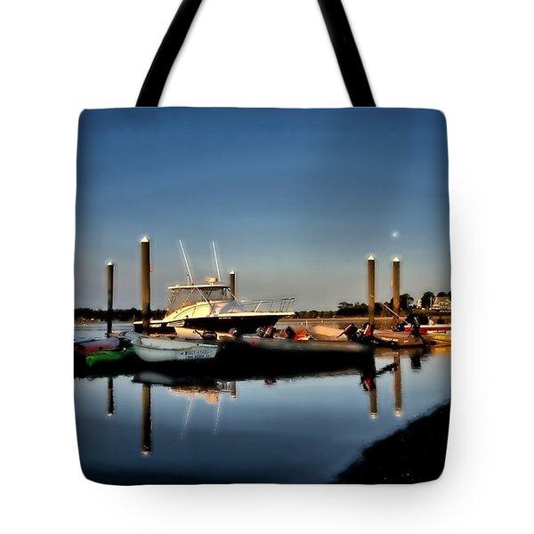 Sunny Morning At Onset Pier Tote Bag