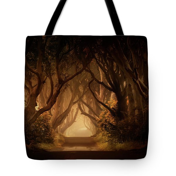 Tote Bag featuring the photograph Sunny Morning In Dark Hedges by Jaroslaw Blaminsky