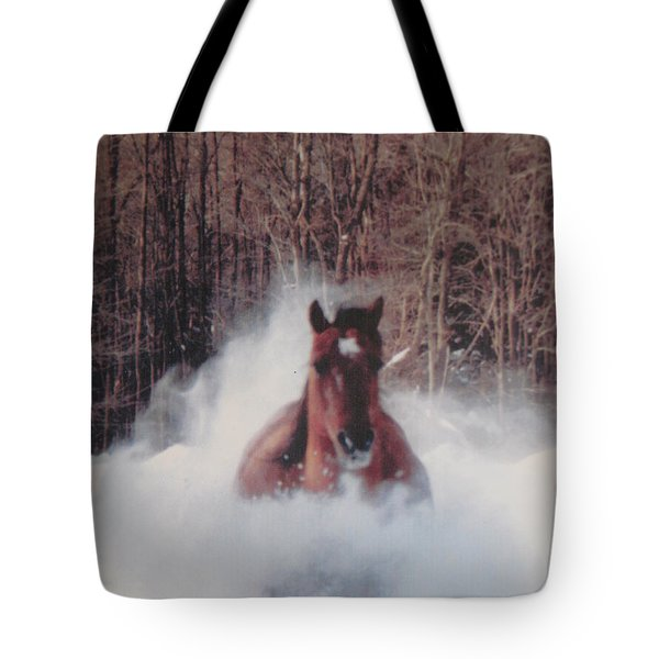 Sunny Running For The Barn. Tote Bag by Jeffrey Koss