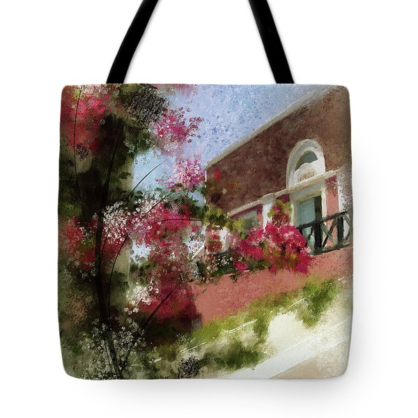 Tote Bag featuring the photograph Sunny Santorini by Lois Bryan