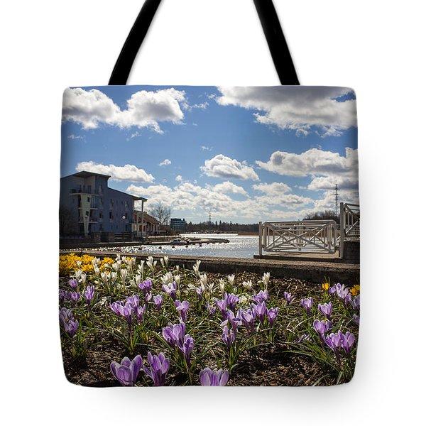 Sunny Spring Flowers In Helsinki Tote Bag