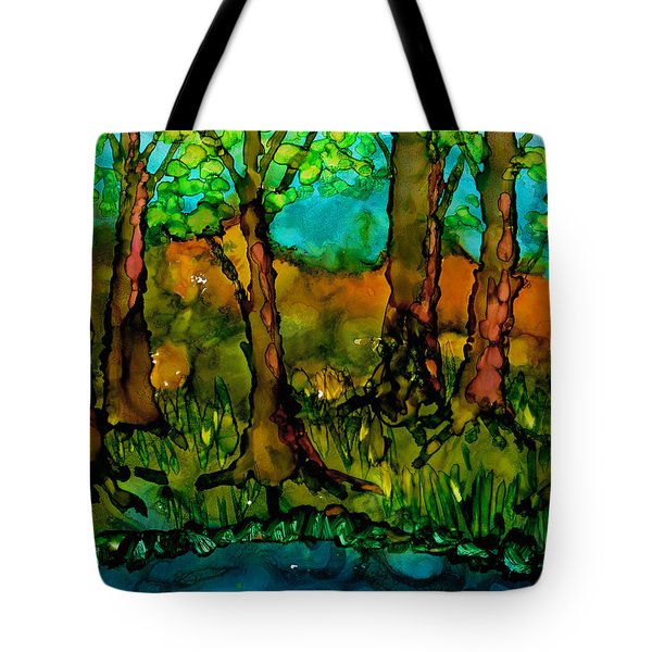Tote Bag featuring the painting Sunny Trees by Angela Treat Lyon
