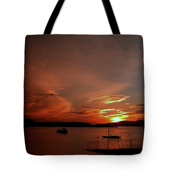 Sunraise Over Lake Tote Bag