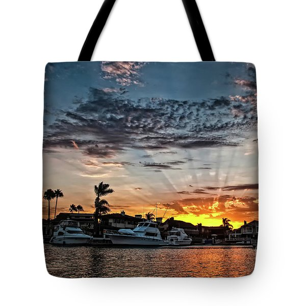 Sunrays Over Huntington Harbour Tote Bag