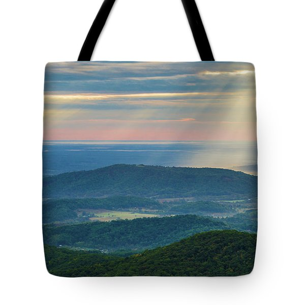 Tote Bag featuring the photograph Sunrays Over The Blue Ridge Mountains by Lori Coleman
