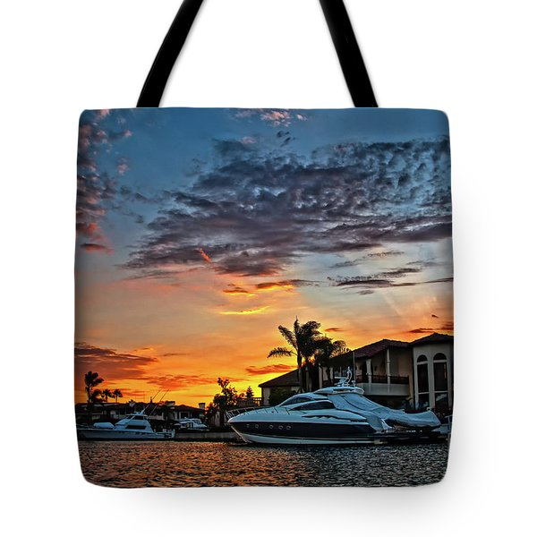 Sunrays Sunset Over Huntington Harbour Tote Bag