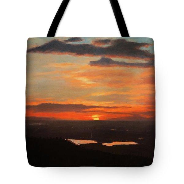 Sunrise Above Boulder Tote Bag
