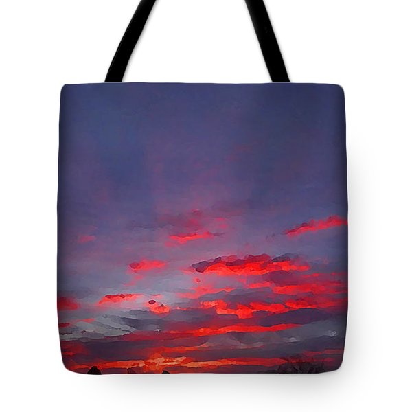 Sunrise Abstract, Red Oklahoma Morning Tote Bag