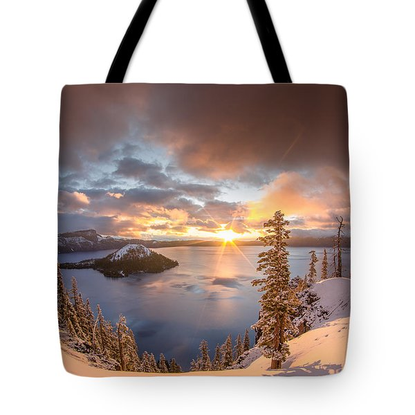 Sunrise After Summer Snowfall Tote Bag