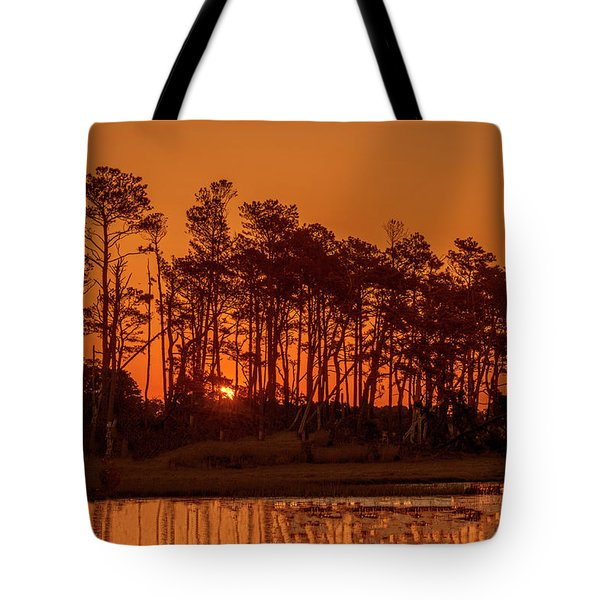 Sunrise Along A Tree Line Tote Bag