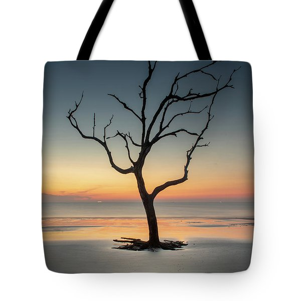 Sunrise And A Driftwood Tree Tote Bag