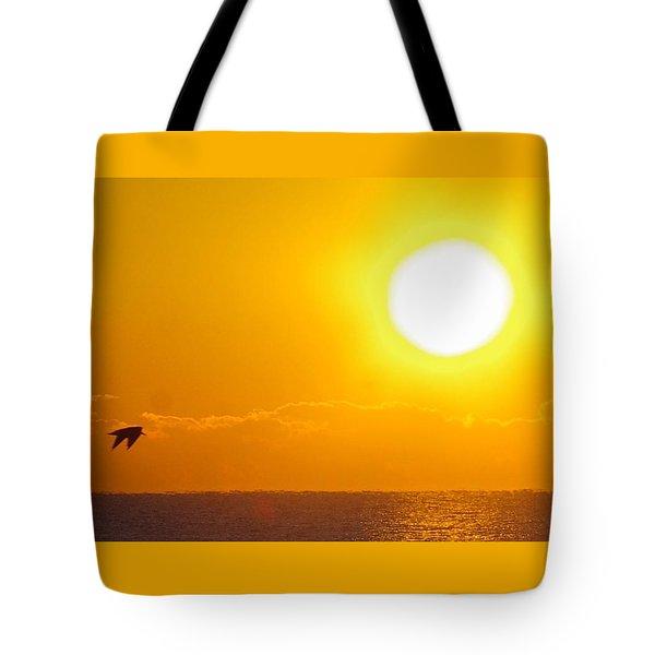 Sunrise And Bird Tote Bag