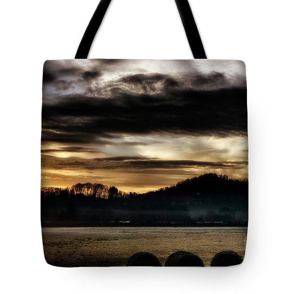 Tote Bag featuring the photograph Sunrise And Hay Bales by Thomas R Fletcher