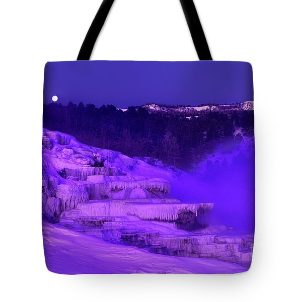 Tote Bag featuring the photograph Sunrise And Moonset Over Minerva Springs Yellowstone National Park by Dave Welling