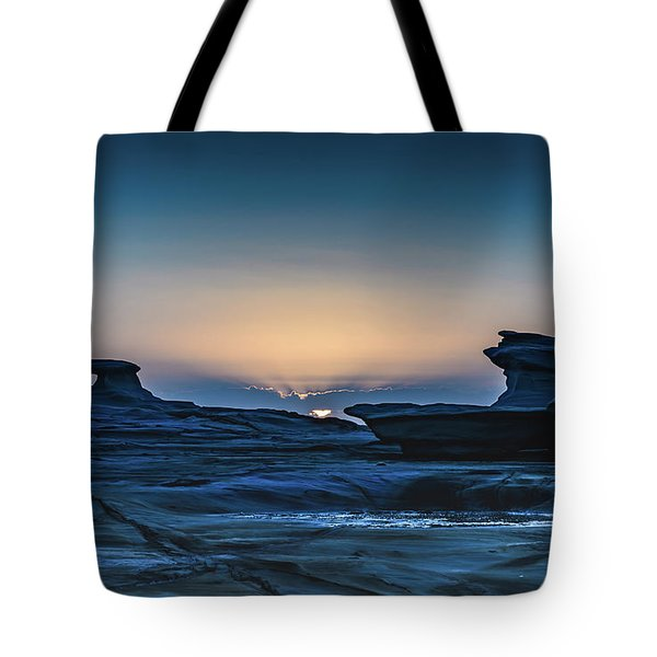 Sunrise And Rock Platform Landscape Tote Bag