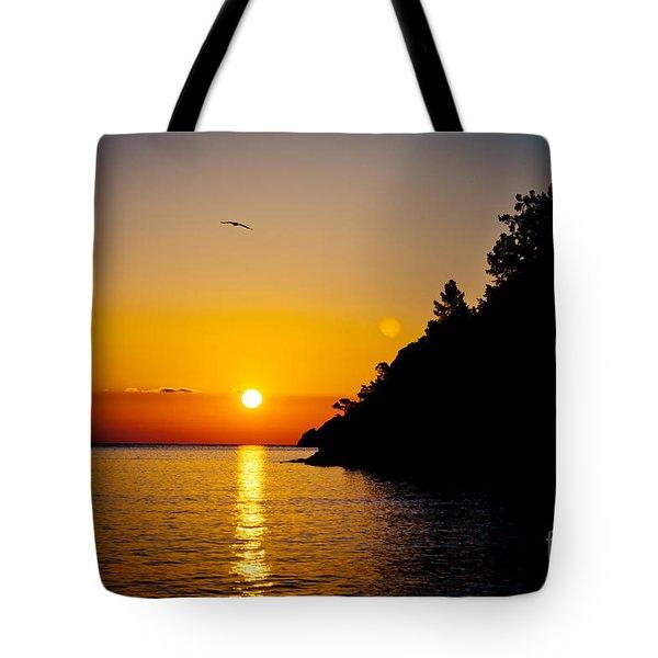 Sunrise And Seascape Orange Color Tote Bag