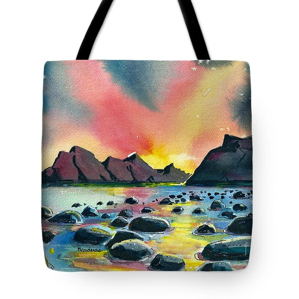 Tote Bag featuring the painting Sunrise And Water by Terry Banderas