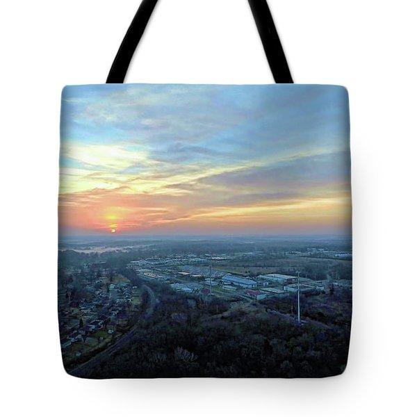 Sunrise At 400 Agl Tote Bag by Dave Luebbert
