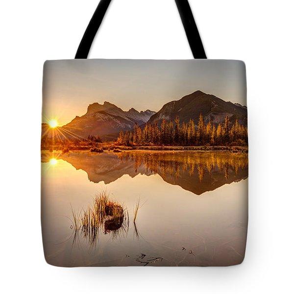 Sunrise At Banff's Vermilion Lakes  Tote Bag
