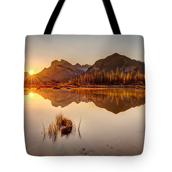 Sunrise At Banff's Vermilion Lakes  Tote Bag by Pierre Leclerc Photography