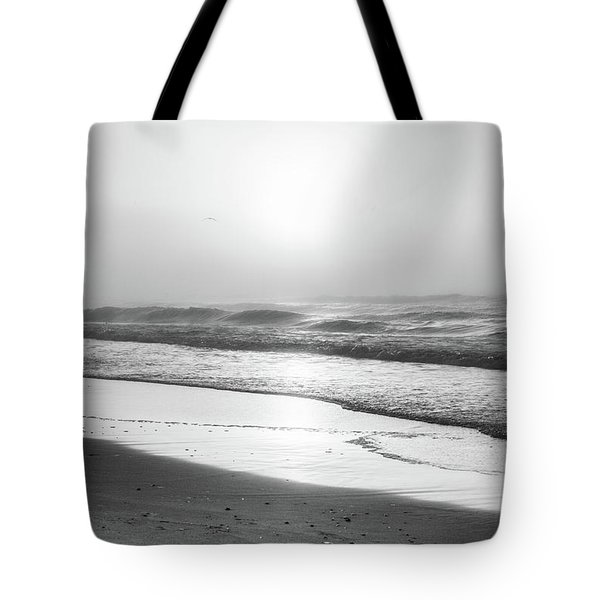 Tote Bag featuring the photograph Sunrise At Beach Black And White  by John McGraw