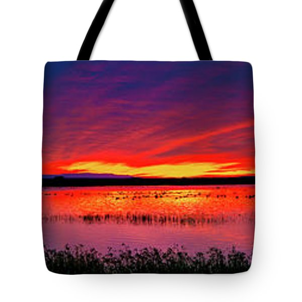 Sunrise At Bosque Del Apache Tote Bag