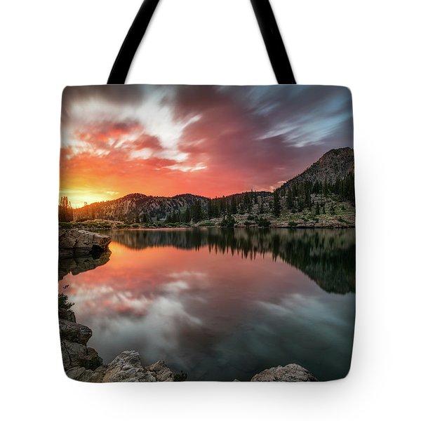 Sunrise At Cecret Lake Tote Bag