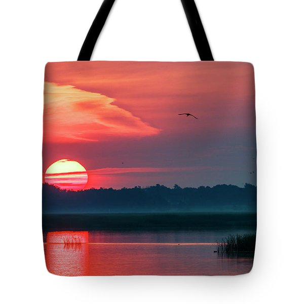 Tote Bag featuring the photograph Sunrise At Cheyenne Bottoms 03 by Rob Graham