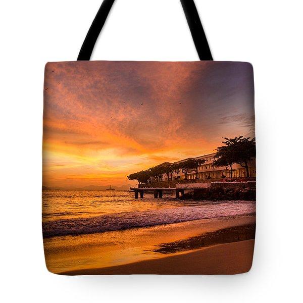Sunrise At Copacabana Beach Rio De Janeiro Tote Bag