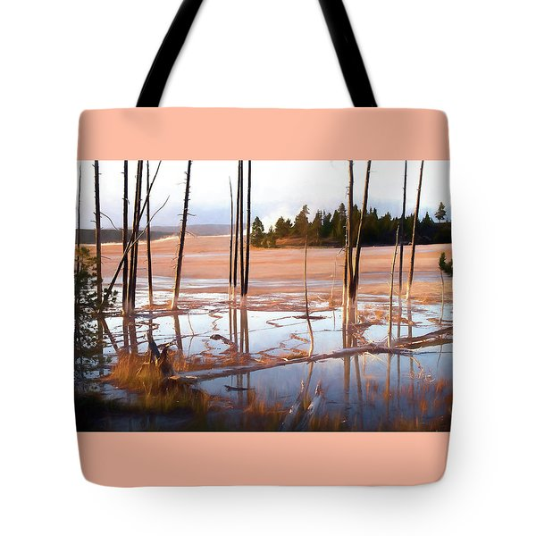 Sunrise At Fountain Paint Pots, Yellowstone National Park, Usa Tote Bag