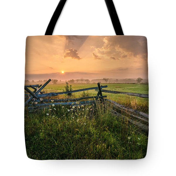 Sunrise At Gettysburg National Park Tote Bag