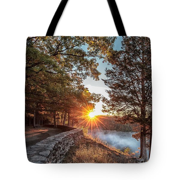 Sunrise At Great Bend Tote Bag