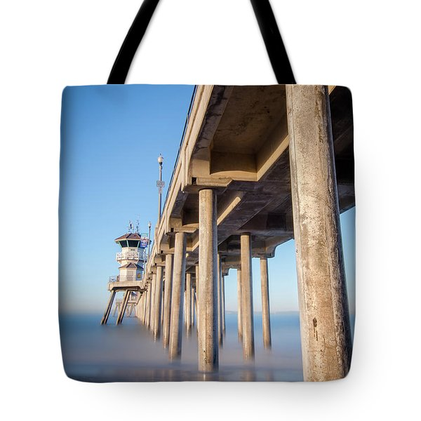 Sunrise At Huntington Beach Pier Tote Bag