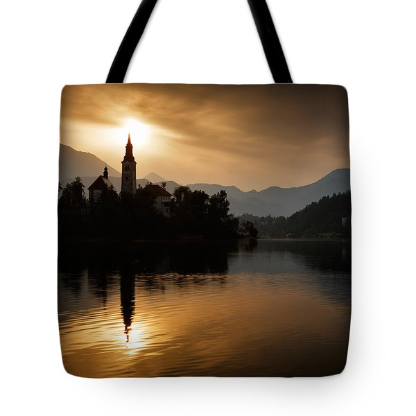 Tote Bag featuring the photograph Sunrise At Lake Bled by Ian Middleton