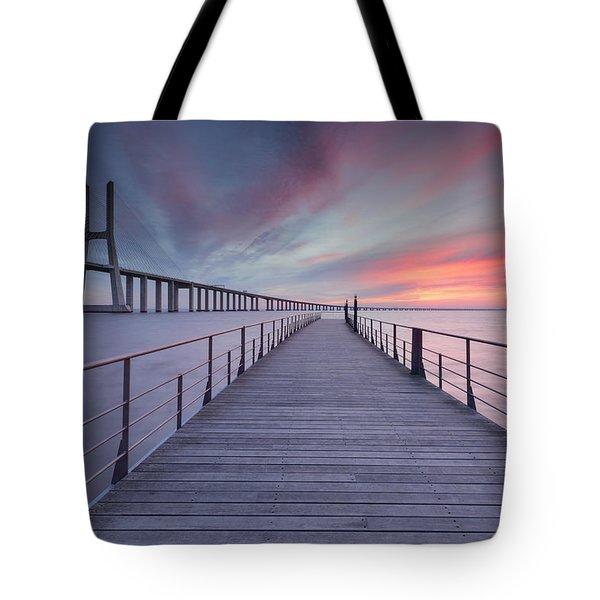 sunrise at Lisbon Bridge Tote Bag