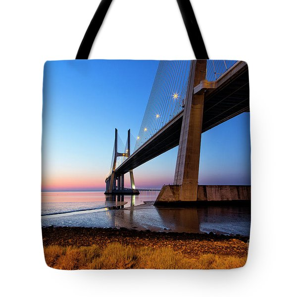 Sunrise At Lisbon, Vasco Da Gama Bridge Tote Bag