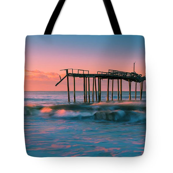 Tote Bag featuring the photograph Sunrise At Outer Banks Fishing Pier In North Carolina Panorama by Ranjay Mitra
