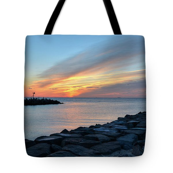 Sunrise At Point Pleasant Inlet Tote Bag