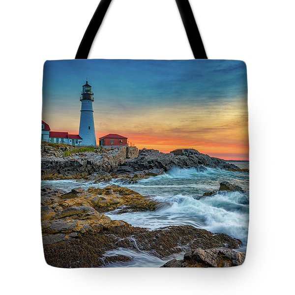 Sunrise At Portland Head Light Tote Bag