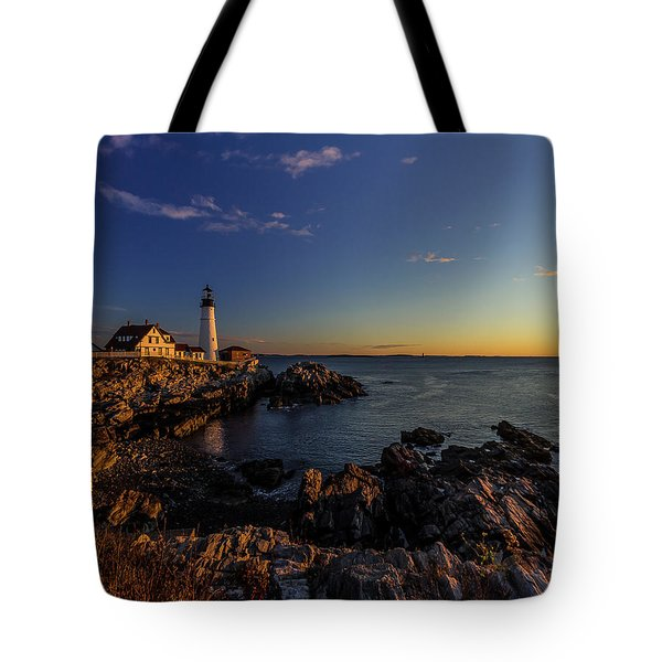 Sunrise At Portland Headlight Tote Bag