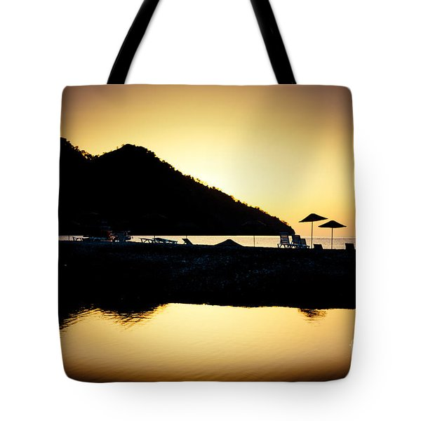 Sunrise At Sea Coast Brown Tote Bag