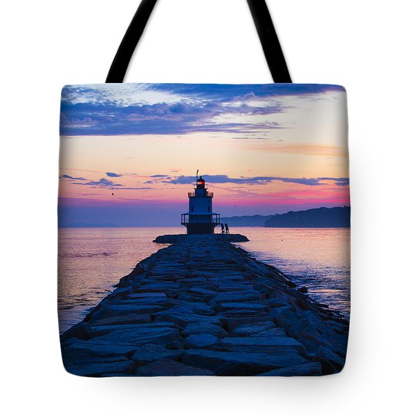 Sunrise At Spring Point Light Maine Tote Bag