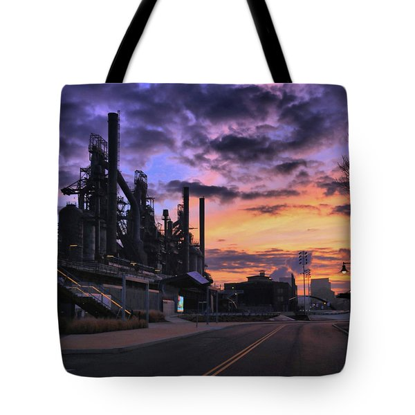 Tote Bag featuring the photograph Sunrise At Steelstacks by DJ Florek