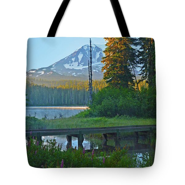 Sunrise At Takhlakh Lake Under Mt Adams Tote Bag