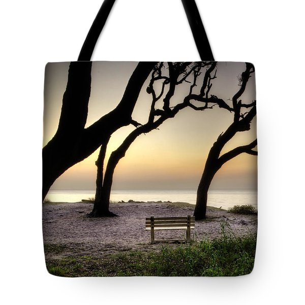 Sunrise At The Bench Tote Bag