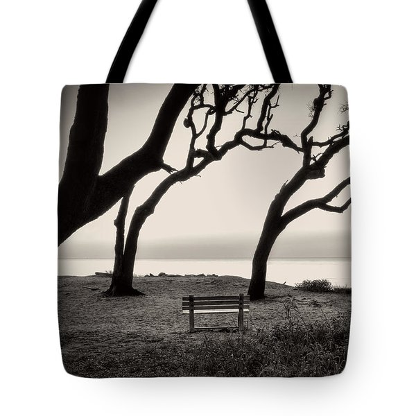 Sunrise At The Bench In Black And White Tote Bag