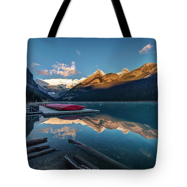 Sunrise At The Canoe Shack Of Lake Louise Tote Bag by Pierre Leclerc Photography