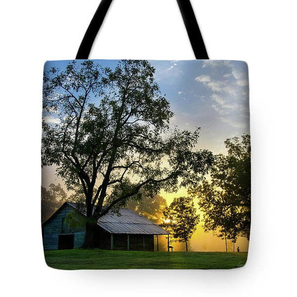 Sunrise At The Farm Tote Bag by George Randy Bass