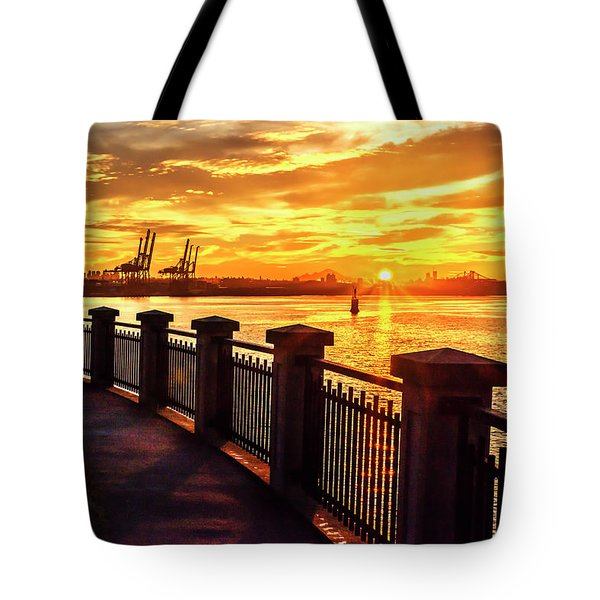Tote Bag featuring the photograph Sunrise At The Harbor by John Poon